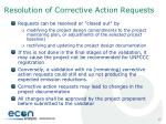 resolution of corrective action requests