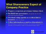 what shareowners expect of company practice