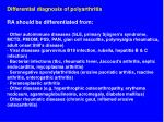 differential diagnosis of polyarthritis