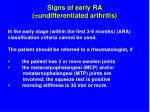 signs of early ra undifferentiated arthritis
