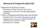 resources to prepare for april 11th