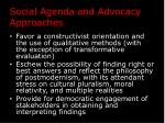 social agenda and advocacy approaches1