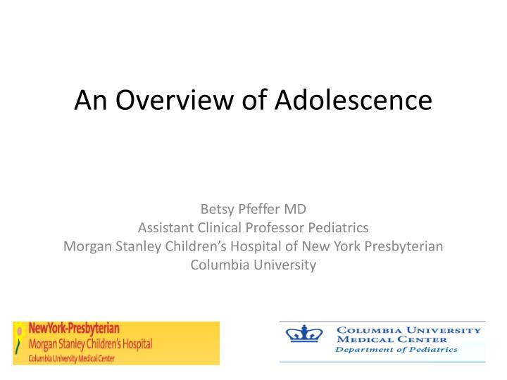 an overview of adolescence n.