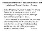 perceptions of the period between childhood and adulthood through the ages trouble