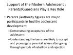 support of the modern adolescent parents guardians play a key role