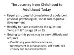 the journey from childhood to adulthood today