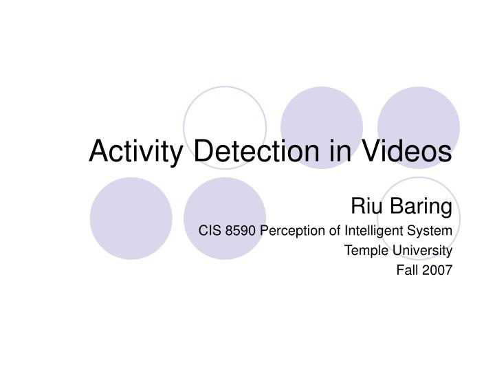 activity detection in videos n.