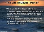 the life of david part 52