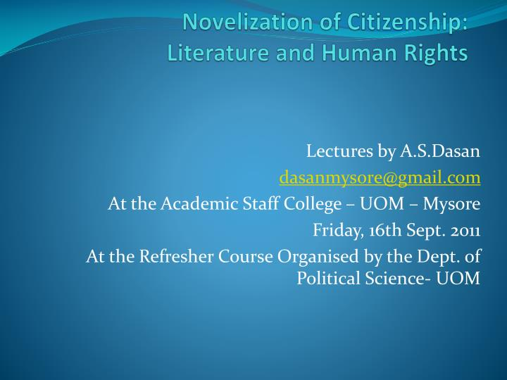novelization of citizenship literature and human rights n.