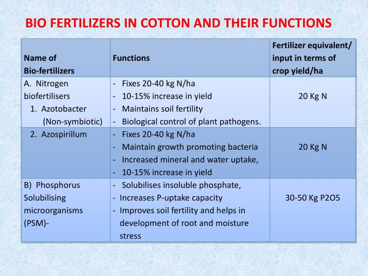 BIO FERTILIZERS IN COTTON AND THEIR FUNCTIONS