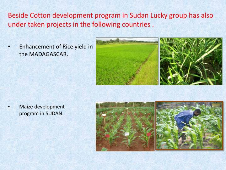 Beside Cotton development program in Sudan Lucky group has also under taken projects in the following countries .