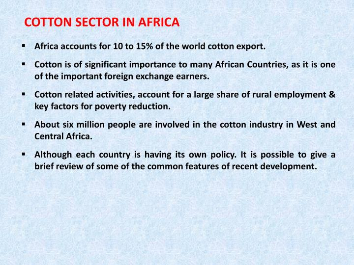 COTTON SECTOR IN AFRICA
