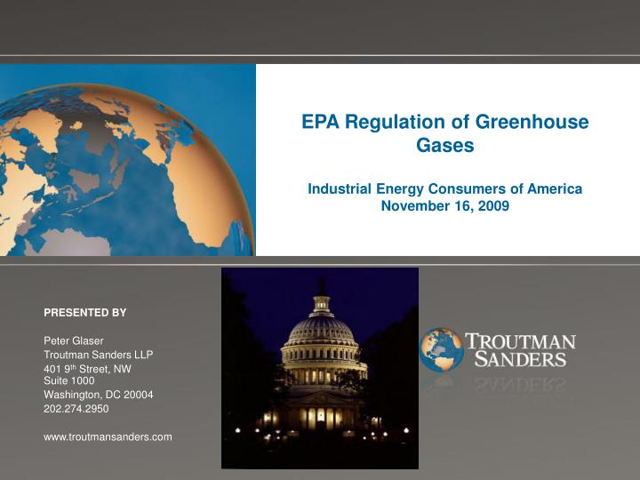 epa regulation of greenhouse gases industrial energy consumers of america november 16 2009 n.
