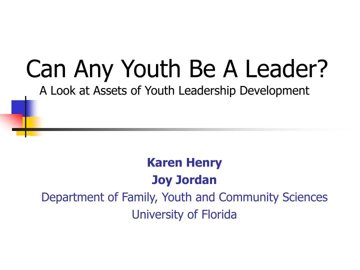 can any youth be a leader n.