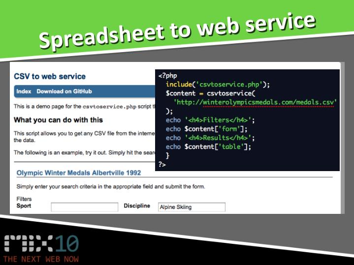 Spreadsheet to web service