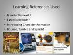 learning references used