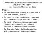 diversity focus survey 2008 vernon research group of cedar rapids one measure of how we are doing