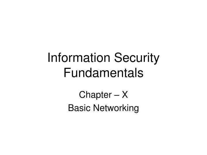 information security fundamentals n.