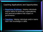 coaching applications and opportunities