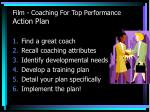 film coaching for top performance action plan