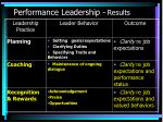 performance leadership results