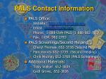 pals contact information