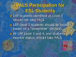 pals participation for esl students