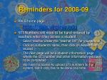reminders for 2008 09