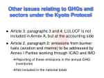 other issues relating to ghgs and sectors under the kyoto protocol