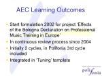 aec learning outcomes