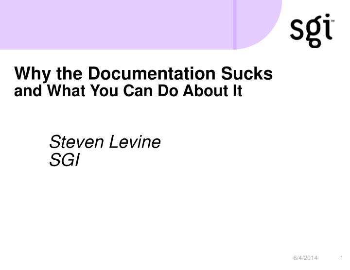 why the documentation sucks and what you can do about it n.