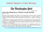industry reports a labor shortage