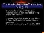 the oracle healthcare transaction base htb