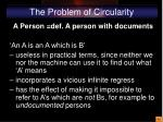 the problem of circularity