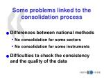 some problems linked to the consolidation process