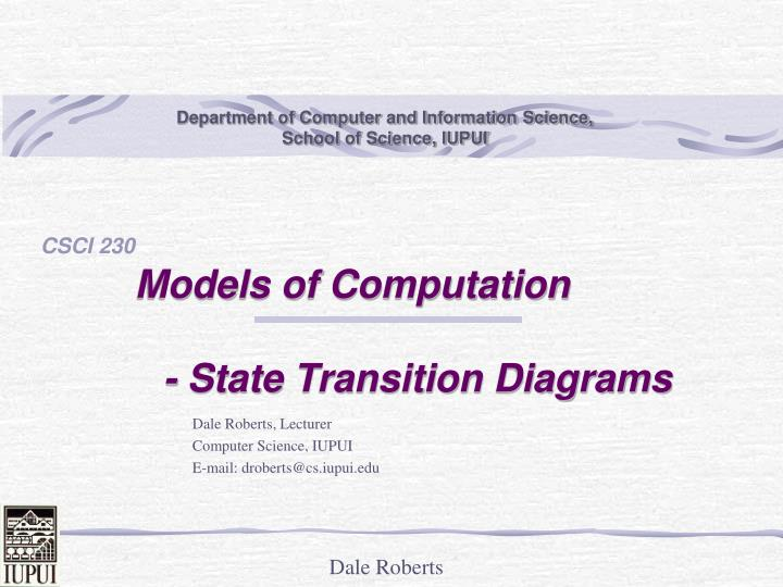 models of computation state transition diagrams n.