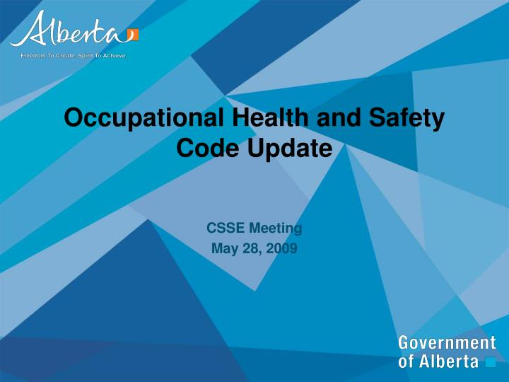 occupational health and safety code update n.
