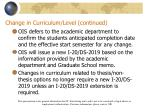 change in curriculum level continued