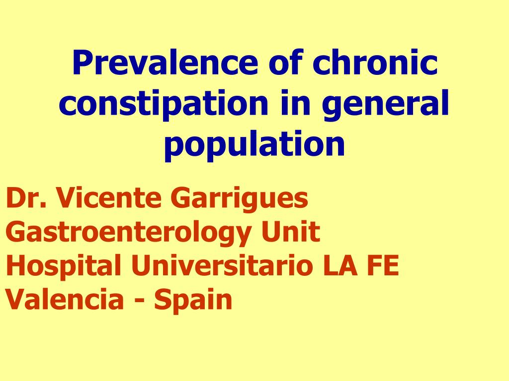 PPT - Prevalence of chronic constipation in general