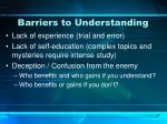 barriers to understanding