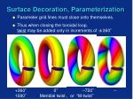 surface decoration parameterization