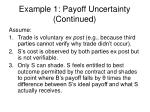 example 1 payoff uncertainty continued
