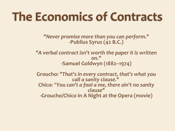 the economics of contracts n.