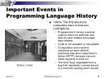 important events in programming language history