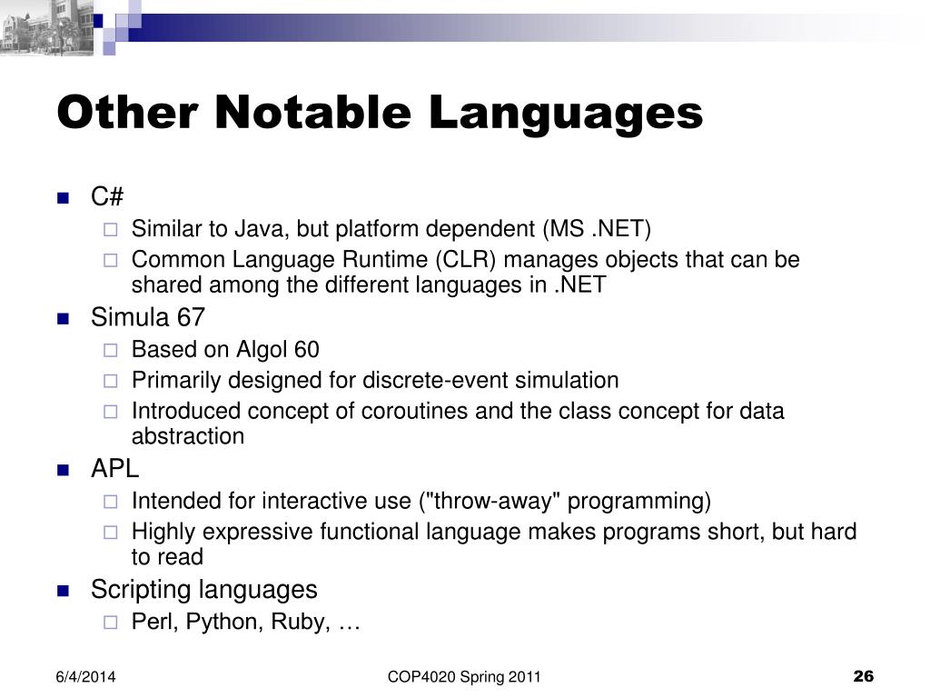 PPT - COP4020 Programming Languages PowerPoint Presentation - ID:1000810