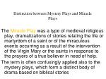 distinction between mystery plays and miracle plays