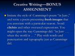 creative writing bonus assignment