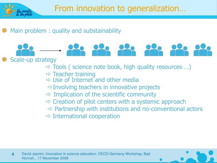 From innovation to generalization…