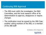 continuing irb approval