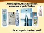 among spirits there have been numerous organic vodkas